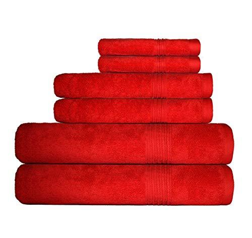 Decor Hut 6 Piece Towel Set - 100% Cotton - 550 GSM - Premium Quality Luxury Towels, Ultra Soft - 2 Bath Towels, 2 Hand Towels, 2 Wash Clothes (Red) ()