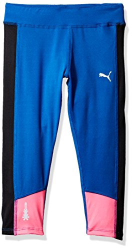 PUMA Big Girls' Athletic Capri Leggings, True Blue, XL (16)
