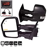 AERDM F150 Towing Mirrors fit 2015-2018 with Auxiliary/Puddle Lights Signal Indicator and Linear arrow light Power Operation Heated Black Housing with 22pin to 8pin adapter