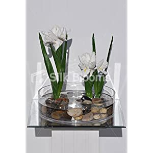 Artificial White Iris in Miniature Water Pond with Pebbles 3