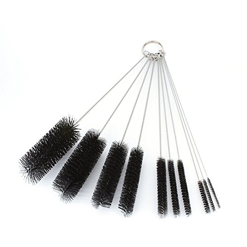 HOMEDECO 8 Inch Nylon Tube Brush Pipe Cleaning Brushes Variety Pack 10 Pcs/Set ()