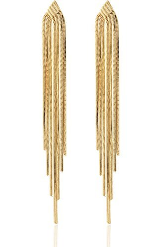 (Long Drop Sleek Chain Tassel Earrings by Lovey Lovey (Gold))