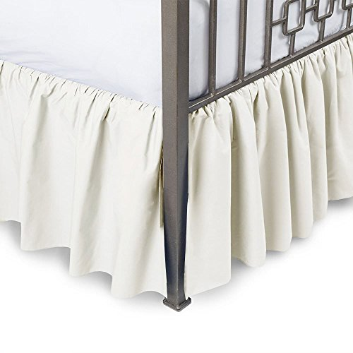 Drop Twin Ivory 18 - Sleepwell Ivory Solid, Twin Size Ruffled Bed Skirt 18 inch Drop Split Corner,100 Percent Pure Egyptian Cotton 400 Thread Count, Wrinkle & Fade Resistant