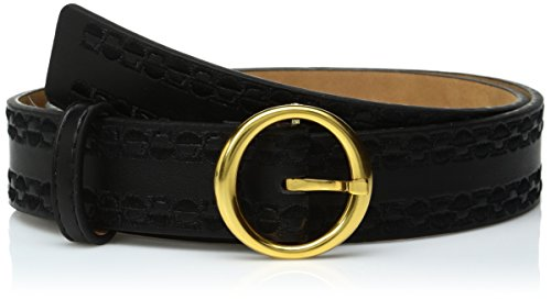 Ak Anne Klein Women's Anne Klein 32mm Smooth Panel Belt With Embroidery, black/Gold, S