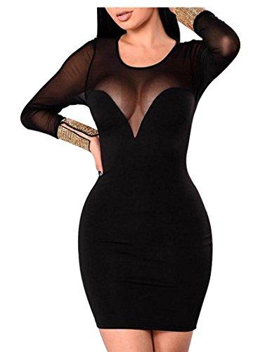 Donne Delle Maglia Jaycargogo Maniche Lunghe Della Sexy Vestito Nero Aderente Cocktail Da qCZqTd5w