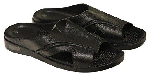 Refresh 567M Mens Open Toe Leather Upper Slippers Black Jpkm3b0g