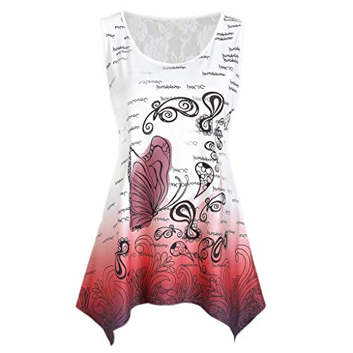Fitfulvan Women's Sleeveless Lace Panel Butterfly Print Tank Top Casual T-Shirt Hollow Loose Leisure Blouse Shirts Red