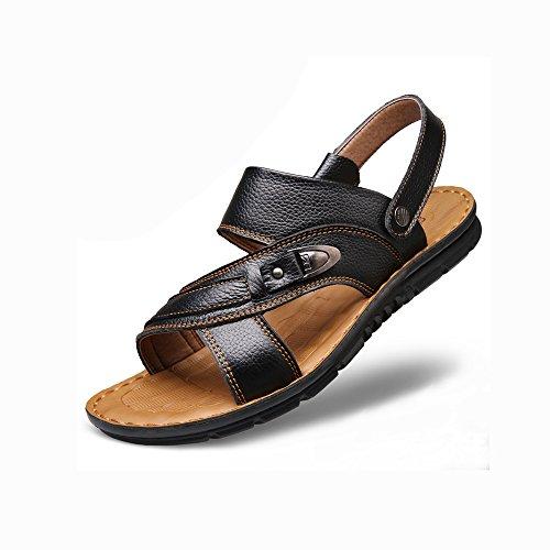 フォーマット気まぐれな日付付きYQQ スリッパ お父さんの靴 ビーチの靴 通気性のある ホリデーシューズ サンダル 男性 カジュアルシューズ 夏 男性 滑り止め ソフトボトム (色 : 黒, サイズ さいず : EU42/UK8.5)