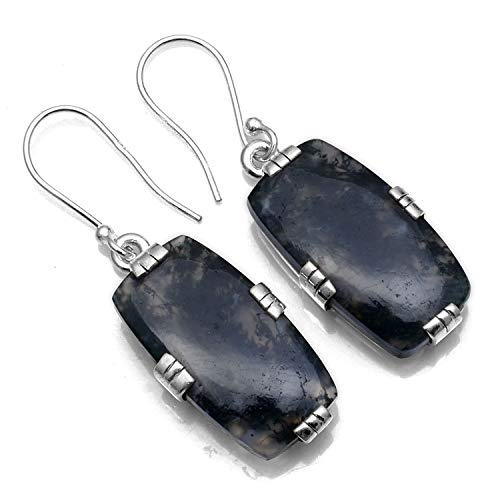 Silver Palace 925 Sterling Silver Natural Moss Agate Dangle Earrings for Women