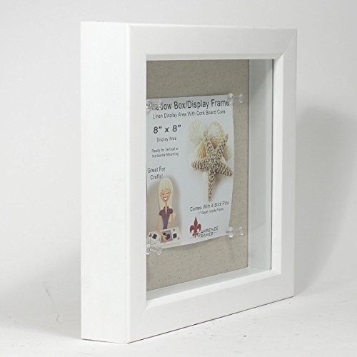 amazoncom lawrence frames shadow box frame with linen inner display board 8 by 8 inch white