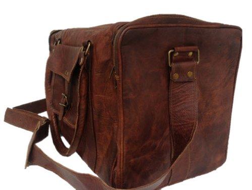 True Grit Leather Originale borsone da viaggio vintage marrone da uomo, borsa trolley brown 61 cm