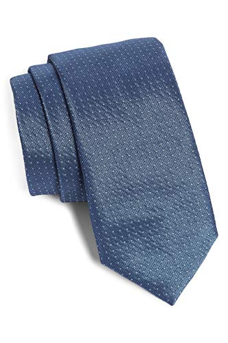 Hugo Boss Microdot Slim Woven Italian Silk Tie, Blue 50401293