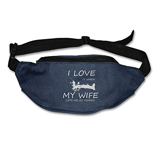 Ada Kitto I Love It When My Wife Lets Me Go Fishing Mens&Womens Sport Style Waist Pack For Running And Cycling Navy One Size by Ada Kitto