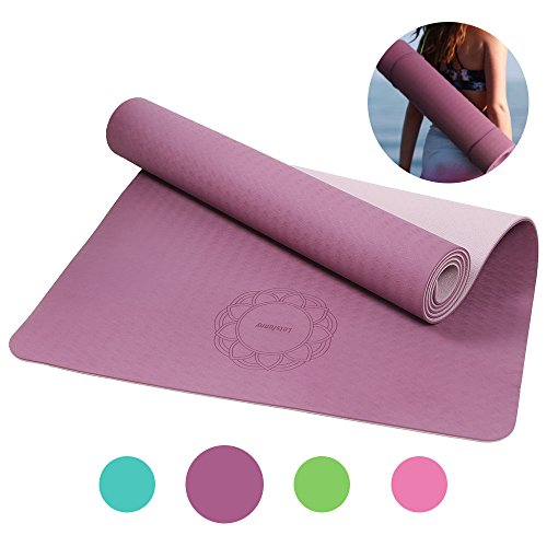 Non Slip Yoga Mat LetsFunny Thick Eco Friendly Large Yoga Mats with Carrying Strap for WomenMen - 1/4-Inch SGS Certified TPE Exercise Anti-Tear Workout Mat for Pilates Yoga Fitness