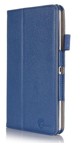 i-BLASON Samsung Galaxy Tab 4 8.0 Case - Leather Book (Elastic Hand Strap, Multi-Angle, Card Holder) With Bonus Stylus 3 Year Warranty (Blue)