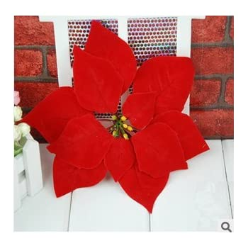 artificial flowers head christmas flower poinsettiachristmas decorationhigh grade raw - Red Christmas Flowers