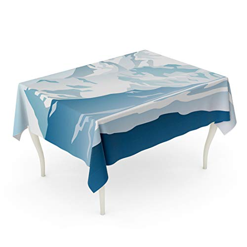 Semtomn 60 x 84 Inch Decorative Rectangle Tablecloth Snow Blue Mountains and Glacier Gradient Summit Ice Alps Waterproof Oil-Proof Printed Table Cloth