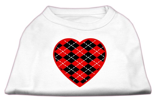Mirage Pet Products Argyle Heart Red Screen Print Shirt White XS (8) ()