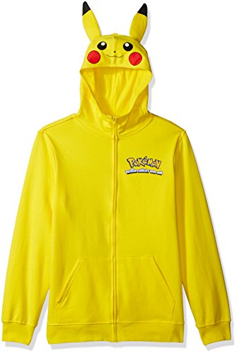 Pokemon Men's Pikachu Character Zip Front Hoodie, Yellow Small -