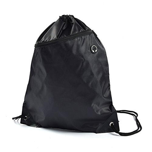 Sunking Men & Women Music Sack Drawstring Backpack Bag With Pocket for School, Yoga, Shopping Black