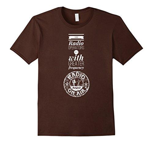 Men's Ham Radio Operators Frequency TShirt Retro Vintage Fun Top Large Brown