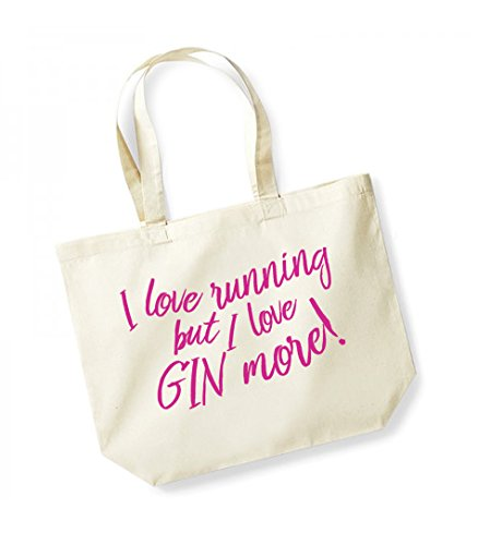 Gin But Fuschia I Love More Tote Love Running Canvas Slogan Cotton I Unisex Natural Bag qPCTxT