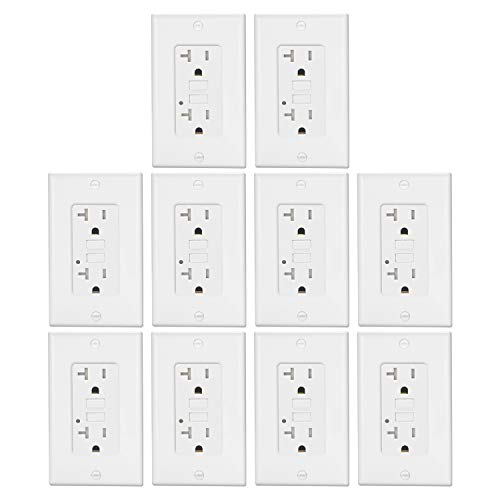 10 Pack - 20A GFCI Outlets by ELECTECK, Weather Resistant (WR) GFI with LED Indicator, Tamper Resistant (TR) Ground Fault Circuit Interrupter, Decor Wall Plates Included, ETL Certified, White ()