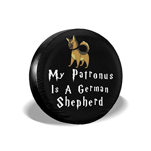 Ybdr94K@ Spare Tire Cover My Patronus is A German Shepherd-1 Sun Protector Universal Wheel Tire Cover for Trailers, RV, SUV, Trucks and Many Vehicle, 14