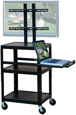 VTI Adjustable Cart for up to 32 Flat Panel TV w Pull Out Shelf