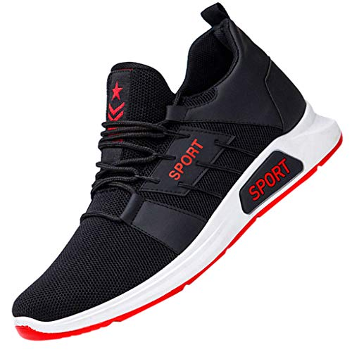〓COOlCCI〓Men's Athletic Shoes,Men Sneakers Slip on Mesh Ultra Lightweight Breathable Athletic Running Walking Shoes Red -