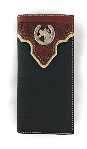 Men's Western Rodeo Genuine Leather Concho Bifold Long Wallet (Horse, Black)