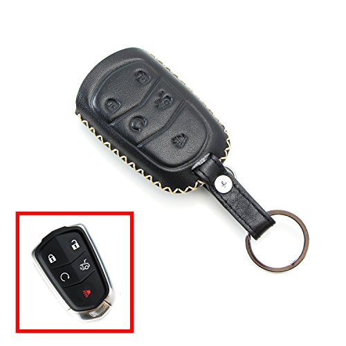 iJDMTOY Exact Fit Premium Black Leather Key Holder with Key Chain For 2015-up Cadillac ATX CTS CT6 ELR XTS XT5 SRX Escalade (Please verify your actual key before buying)