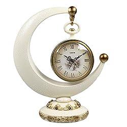 LANNA SHOP- Creative Mantel / Mantle Rhythm Quartz Clock Crescent living room desk shelf clocks Decoration ( Color : Light yellow )