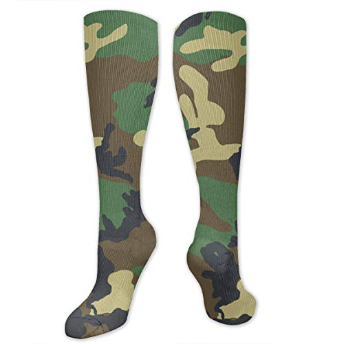 Army Green Camouflage Pattern Polyester Cotton Over Knee Leg High Socks Vintage Unisex Thigh Stockings Cosplay Boot Long Tube Socks for Sports Gym Yoga Hiking Cycling Running Football ()