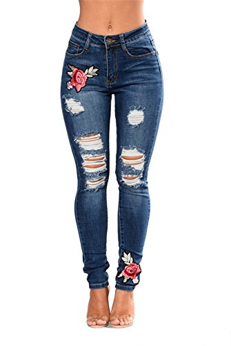 Luckywe Cintura Para alta Skinny bordado Stretch elástico Mujer agujero Jeans Vaqueros ZZzPrRw