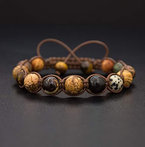 Sahara, Men's Gemstone Natural Stone Wrap Bracelet, Beaded Bracelet, Gift for Him, Tiger's Eye, Picture Jasper, Agate, Macrame Bracelet Crux Crystals