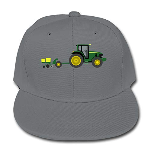 - Chqeilng Oii Interesting Tractor with Planter Solid Color Baseball Cap Trucker Hat Gray