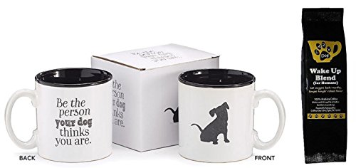 (Black Puppy Be the Person Your Dog Thinks You are 2-Sided Coffee Mug and Lazy Dog Wake Up Blend Coffee for Humans Gift Set Bundle (2 Items))