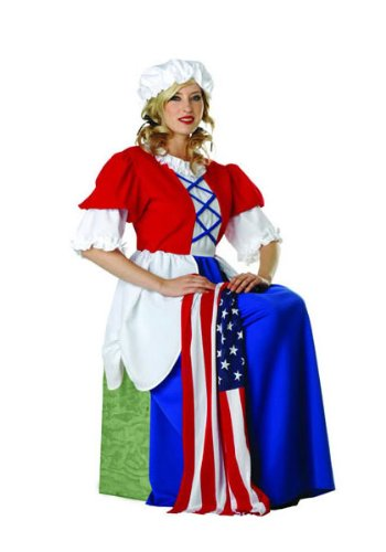 Betsy Ross Dress, Mopcap (Red/Blue/White;Medium)