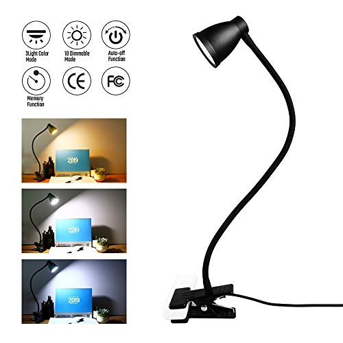 Sondiko Clip on Reading Light, Clamp Desk Lamp 3 Adjustable Color Temperature Modes, 10 Brightness Levels 14 Led Beads USB Light with Auto Off&Memory Function(2019 Upgrade), Black