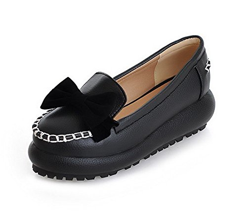 VogueZone009 Women's Round Closed Toe Pull On PU Solid Kitten-Heels Pumps-Shoes Black nIN6z