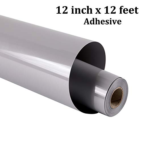 Adhesive Heat Transfer Vinyl for T-Shirts 12 Inch by 12 Feet Glossy Vinyl Roll Hot Peel - guangyintong (K12-Gray) (Peel T-shirt Transfer)