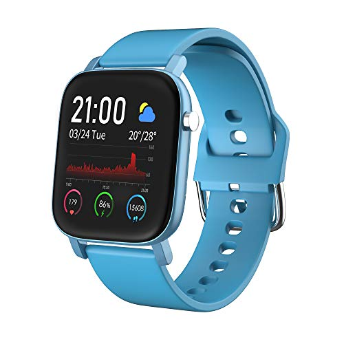 AQFIT W11 Smartwatch IP68 Waterproof Fitness Tracker | 1.4″ Full Touch Screen Display | Upto 10 Days Battery Life | 4.2 Bluetooth | for Men and Women (Power Blue)