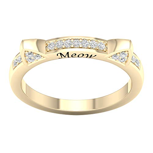 (IGI Certified 10k Yellow Gold 1/10 ct TDW Kitty Cat Kitten Ears Ring Diamond Cat Ladies Ring (I-J,)