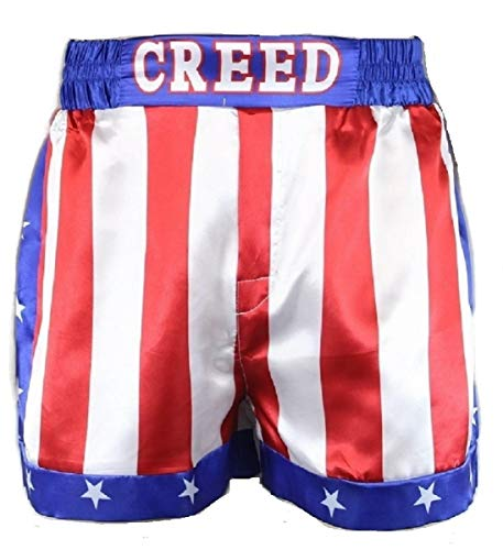 CREED Rocky Men's Apollo Johnson Movie Boxing American Flag Shorts Trunks boxers (XL)