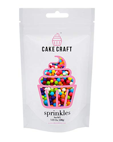(Cake Craft - Sprinkles - Rainbow Sugar Pearls - 100g Bag – For Cake Decorating)
