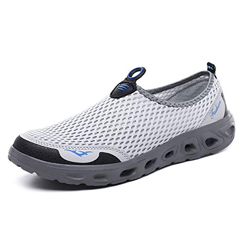 GOOD STUDIOS Men Women Mesh Water Shoes Quick Dry Slip-on Aqua Shoes for Swimming Pool Beach Walking Running Exercise, White/Grey, - Mesh Shoes Water