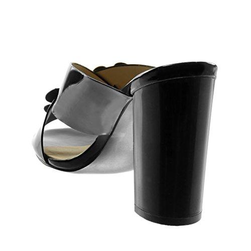 Patent Flowers on Studded Sandals Angkorly Slip Heel Women's Mules cm Fashion 5 High black Shoes 10 patent Block U0xxnzcB8