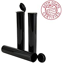 10 Pack Certified Child Resistant Smell-Proof Airtight 4.6 in. Tube Containers (Black) by California Containers