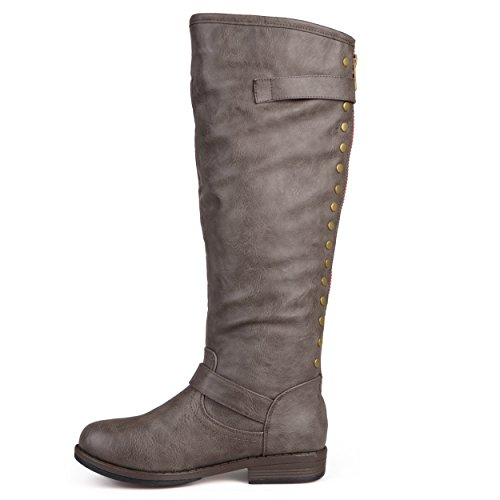 Journee Calf Calf Sized Collection Riding Regular and Boot Extra Studded High Taupe Wide Womens Wide Knee wRwTa